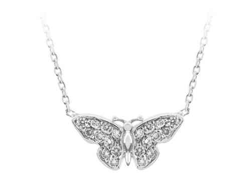 Diamant Collier Schmetterling in 750er 18K Gold