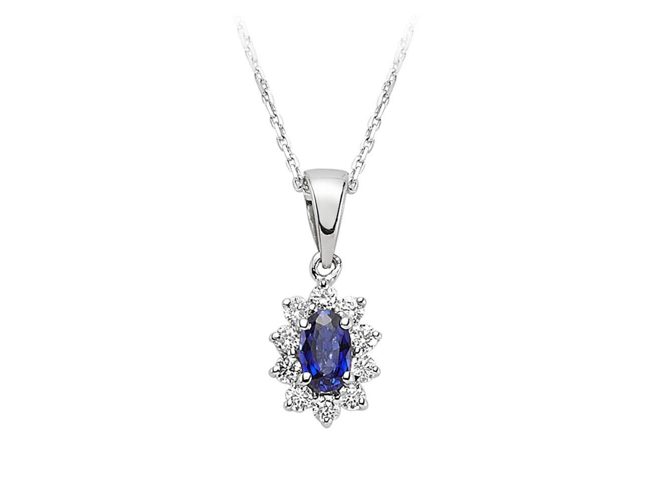 Weißgold kette mit brillant  Entrouge Saphir Diamant Halskette 18 Karat Weissgold 18 Karat
