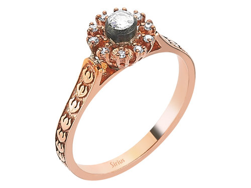 Diamant Rose-Schliff Diamantring in 8 Karat Rotgold