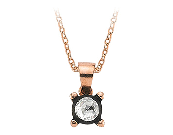 Solitär Diamant Rose-Schliff Collier in 8 Karat Rotgold