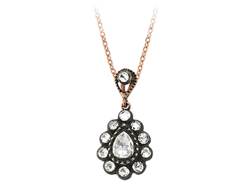 Drop Diamant Rose-Schliff Collier in 8 Karat Rotgold