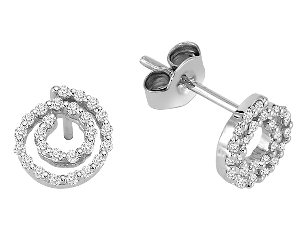 Weigold ohrstecker mit diamanten design diamond