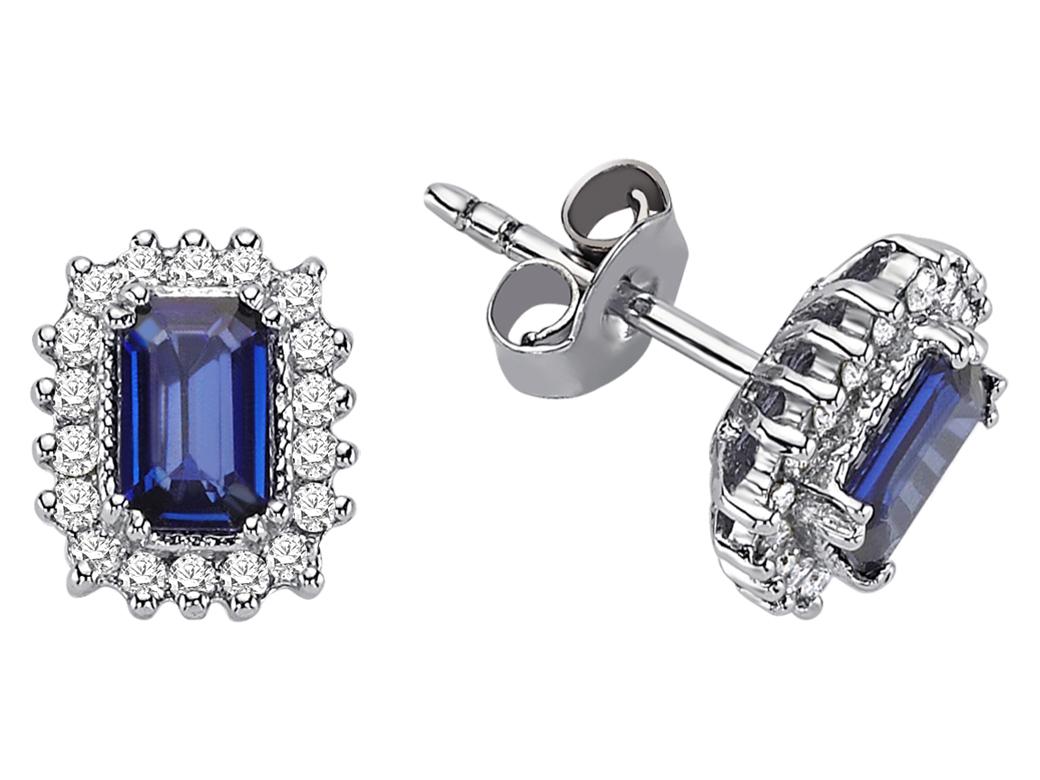 diamant oktagon saphir ohrstecker 18 karat wei gold. Black Bedroom Furniture Sets. Home Design Ideas