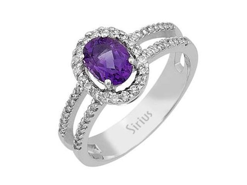 Entourage Diamant & Amethyst Ring Diamantring in Weissgold