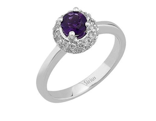 Entourage Diamant Amethyst Ring Diamantring Weissgold