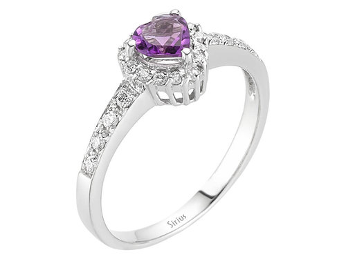 Diamant Amethyst Ring Diamantring 585`er Weißgold