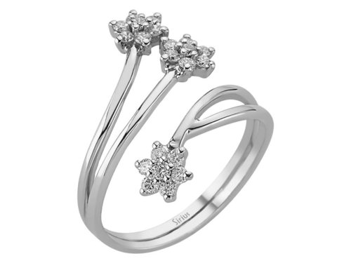 Design Diamantring mit 3 Blumen in 585er 14K Gold