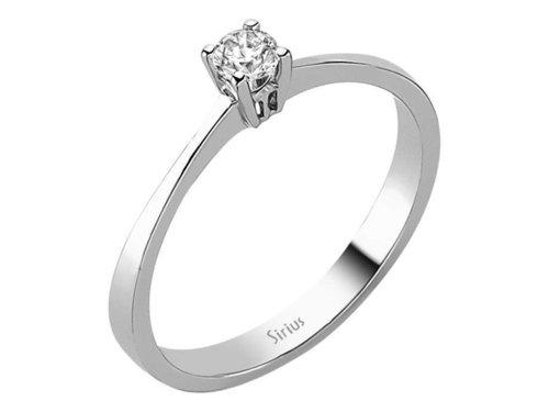 0,14 Karat Solitaire Diamant Ring in 585er 14K Weissgold