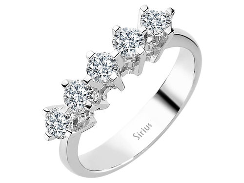 0,96 Carat 5 Diamanten Memoire Ring Diamantring
