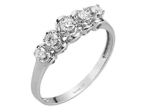 0,31 Carat 5 Diamanten Memoire Ring Memoirering