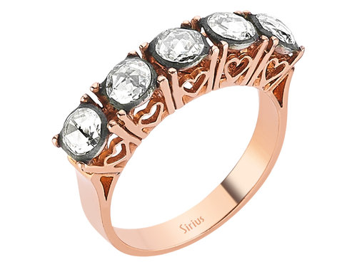 Trauring Rose-Schliff 5 Diamanten Diamantring in 8 Karat Rotgold
