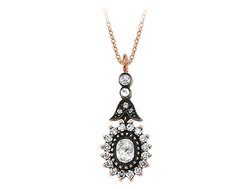 Diamant Rose-Schliff Collier in 8 Karat Rotgold
