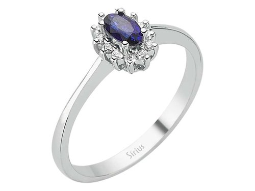 Diamant und Oval Saphir Entourage Ring Damenring