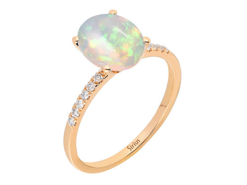 Opal Diamantring in 585er 14K Rotgold