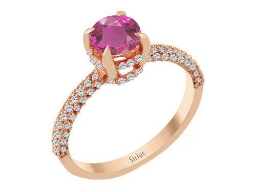 Rosa Turmalin Diamantring in Rotgold