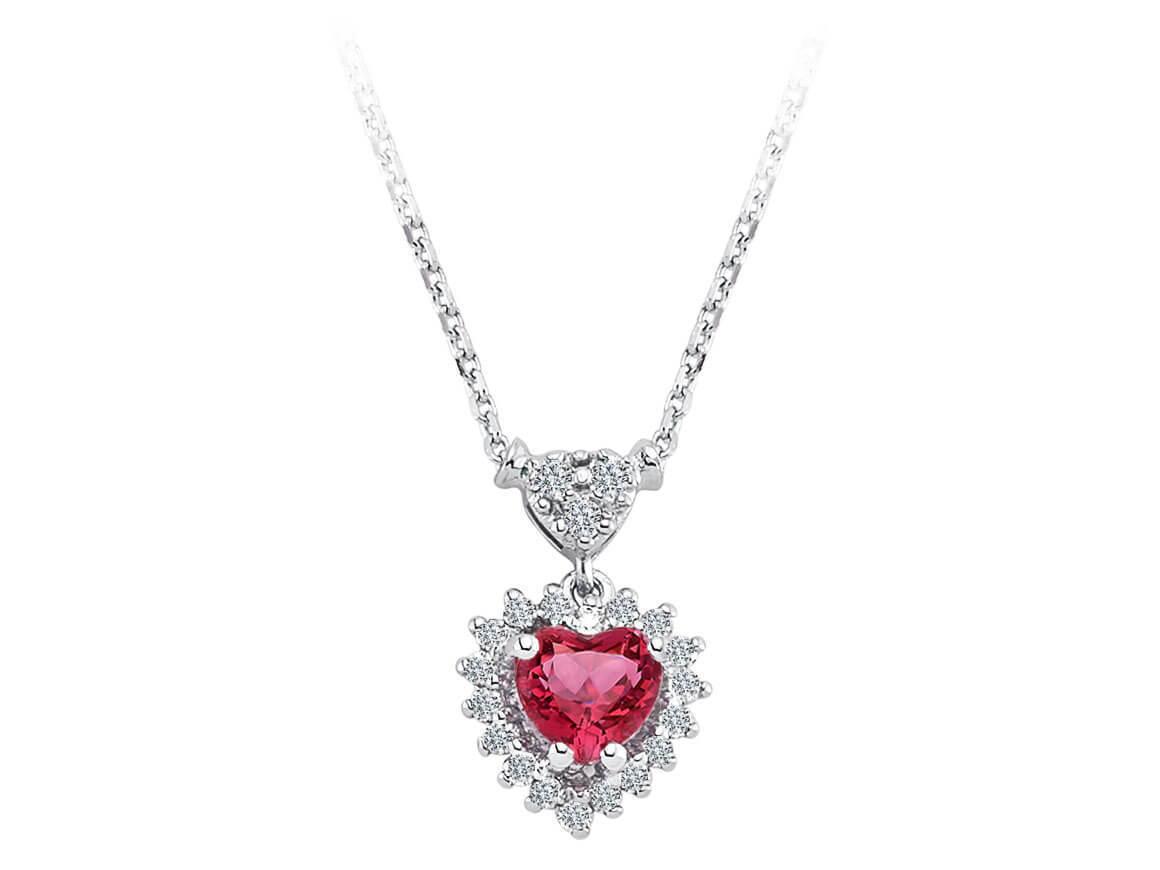 Diamant und Herz Turmalin Collier